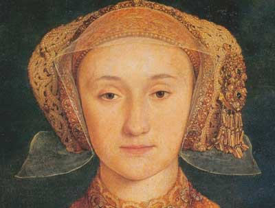 A detail from a painting of Anne of Cleves by Hans Holbein the Younger